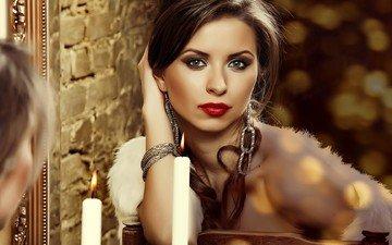 глаза, девушка, отражение, портрет, взгляд, зеркало, модель, волосы, губы, лицо, свеча, помада, длинные волосы