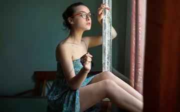 girl, look, glasses, model, legs, face, the beauty, sundress, bessarion chakhvadze, burn