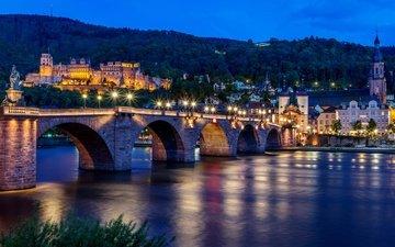 деревья, фонари, огни, вечер, река, пейзаж, мост, дома, набережная, германия, хайдельберг