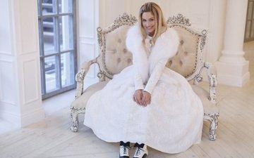 girl, blonde, smile, actress, fur, white dress, natalia rudova