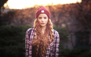 light, girl, look, model, curls, face, hat, shirt, long hair, bokeh