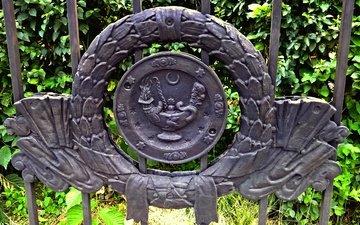 зелень, стиль, город, забор, герб, ограда