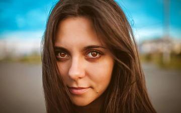 girl, portrait, look, hair, face, bokeh, brown-eyed