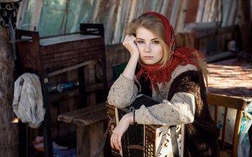 девушка, взгляд, модель, волосы, лицо, платок, русская, ирина попова, максим гусельников, гармонь