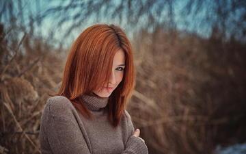 лес, девушка, портрет, взгляд, рыжая, волосы, губы, лицо, andrew vasiliev