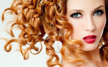 девушка, портрет, взгляд, рыжая, модель, лицо, красные губы, кудрявая, голубоглазая