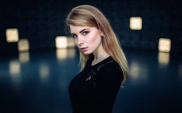 девушка, блондинка, портрет, модель, лицо, голубые глаза, длинные волосы, ирина попова, иван проскурин