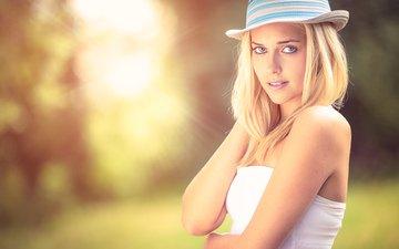 девушка, блондинка, взгляд, модель, волосы, лицо, шляпа