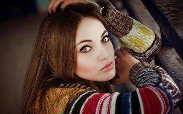 девушка, взгляд, модель, лицо, свитер