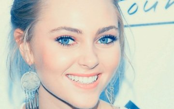 girl, smile, portrait, look, model, lips, face, actress, earrings, blue-eyed, anna sophia robb