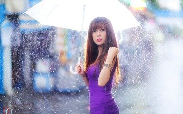 girl, dress, look, rain, hair, umbrella, face, asian