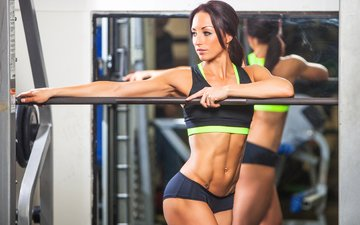 girl, reflection, mirror, fitness, training, sports uniforms, gym