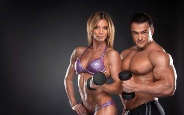 спорт, мужчина, женщина, фитнес, гантели, бодибилдинг