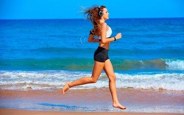 girl, sand, beach, headphones, model, running, athlete, sports wear