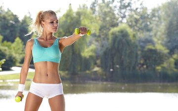 girl, blonde, shorts, fitness, sports wear, dumbbells, workout