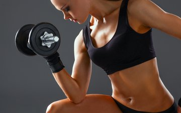girl, chest, sport, hands, body, belly, fitness, dumbbells, workout