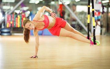 девушка, спорт, фитнес, спортивная одежда, гимнастика, тренировки