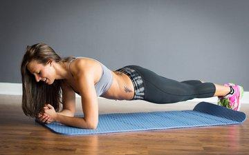 девушка, модель, фитнес, спортивная одежда, коврик, тренировки