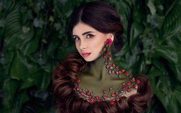 украшения, девушка, портрет, взгляд, модель, креатив, макияж, длинные волосы