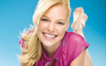 girl, blonde, smile, look, hair, face, actress, katherine heigl