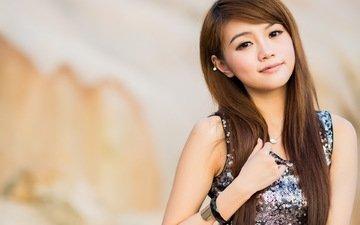 девушка, улыбка, портрет, взгляд, волосы, лицо, азиатка