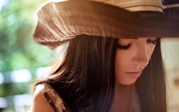 девушка, портрет, модель, волосы, губы, лицо, шляпа, закрытые глаза
