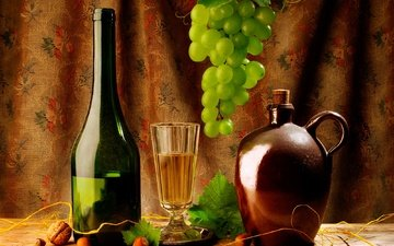 листья, орехи, виноград, бокал, вино, бутылка, кувшин, фундук, штора, натюрморт, грецкий орех