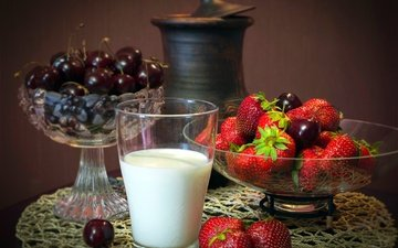 berry, strawberry, table, cherry, glass, milk, pitcher, still life, tablecloth, vases