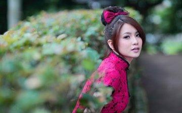 девушка, платье, взгляд, размытость, волосы, лицо, азиатка, бантик