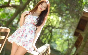 девушка, платье, лето, взгляд, волосы, лицо, азиатка, боке, солнечный свет