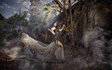 девушка, платье, брюнетка, взгляд, сад, модель, дом, волосы, лицо, азиатка