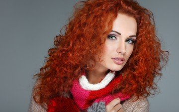 girl, red, model, lips, face, jacket, green eyes, makeup, scarf, curly