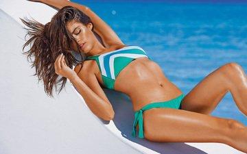girl, pose, model, legs, tan, bikini, closed eyes, sara sampaio