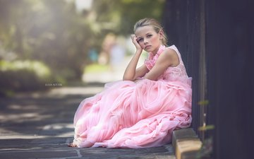 mood, look, girl, hair, face, child, pink dress