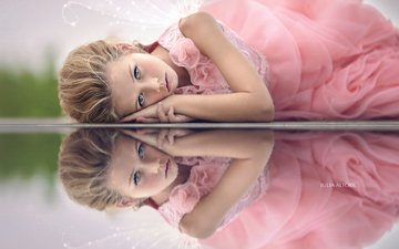 mood, reflection, dress, look, girl, angel, hair, face, child