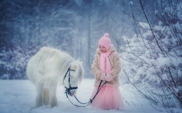 winter, girl, child, pony, anna petrova