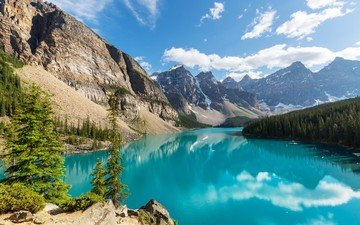 небо, облака, озеро, горы, природа, лес, канада, ландшафт, национальный парк банф, морейн