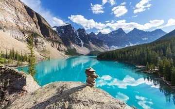 the sky, clouds, lake, mountains, nature, stones, forest, reflection
