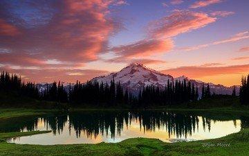 небо, озеро, горы, природа, лес, закат, отражение, пейзаж, вашингтон, сша, национальный заповедник