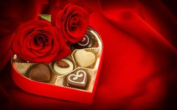 flowers, roses, candy, chocolate, valentine's day, 14 feb, chocolates