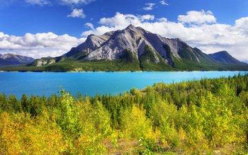 небо, облака, деревья, озеро, горы, осень, канада, альберта, национальный парк, банф, abraham lake