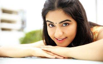 девушка, улыбка, взгляд, волосы, лицо, актриса, индийская, ада шарма