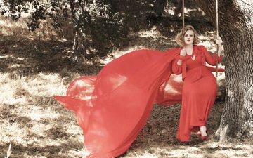 tree, girl, look, hair, face, singer, swing, red dress, adele