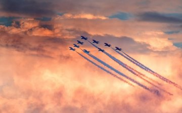 the sky, clouds, the plane, aviation, aircraft, air show