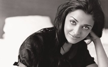 girl, smile, brunette, look, black and white, hair, face, actress, aishwarya rai