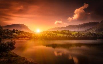 небо, облака, озеро, горы, природа, закат, испания, водохранилище, астурия