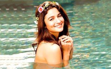 flowers, water, girl, smile, look, hair, face, actress, wreath, bare shoulders, indian, alia bhatt