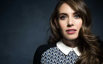 girl, portrait, look, hair, lips, face, actress, alison brie