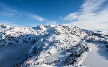 the sky, clouds, trees, mountains, snow, winter, alps