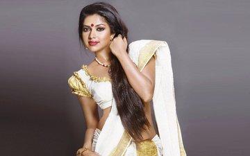 девушка, взгляд, волосы, лицо, актриса, индийская, сари, амала пол
